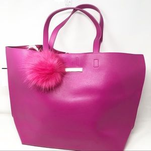 Vince Camuto Hot pink tote with Pom Pom key fob